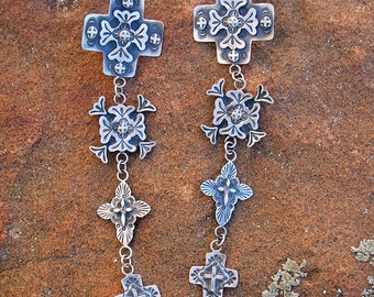 E97 Tour of New Mexico Southwestern Sterling Silver Cross Jewelry Native style earrings made in Santa Fe