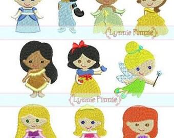Disney Princesses Set  Applique Embroidery Designs Machine Embroidery Designs Digital instant download file Set of 8 formats #032