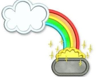 ST. PATRICK'S DAY Pot of Gold W/ Rainbow Applique 4x4 5x7 Machine Embroidery Design