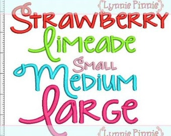 STRAWBERRY Limeade FONT Set 3 Sizes Machine Embroidery Design  INSTANT Download