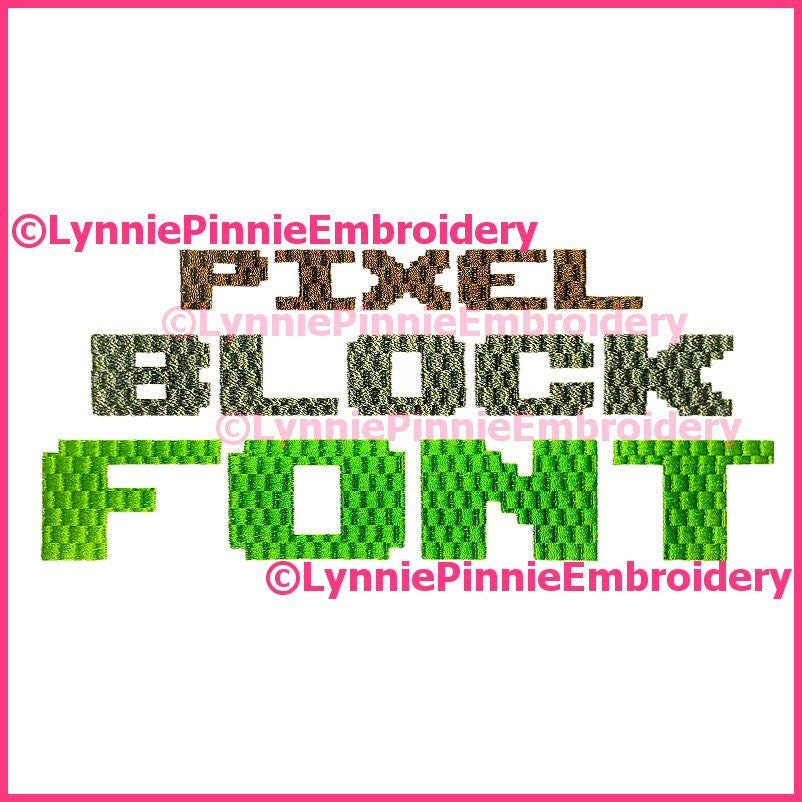 PIXEL BLOCK Simple Embroidery Font 3 Sizes Machine