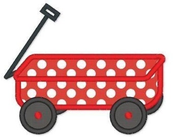 WAGON Applique 4x4 5x7 Machine Embroidery Design boy or girl  INSTANT Download