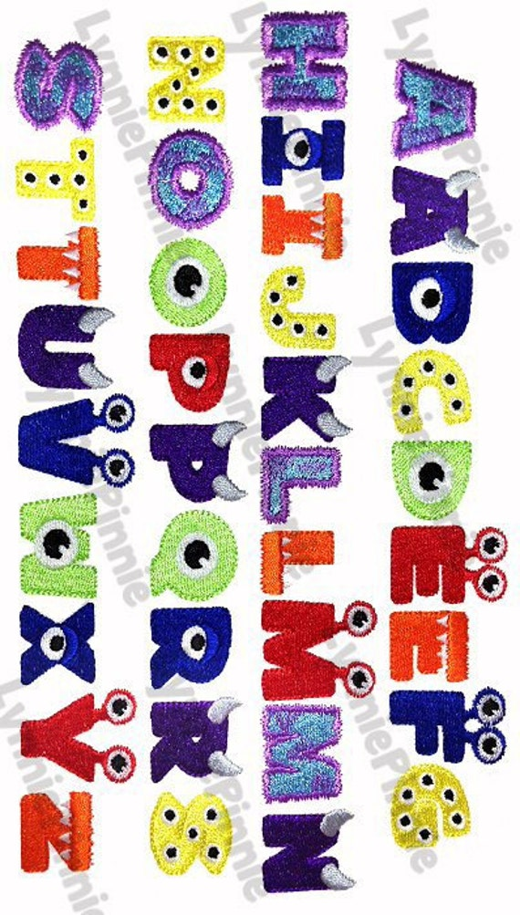 little monster alphabet embroidery font 3 sizes machine etsy