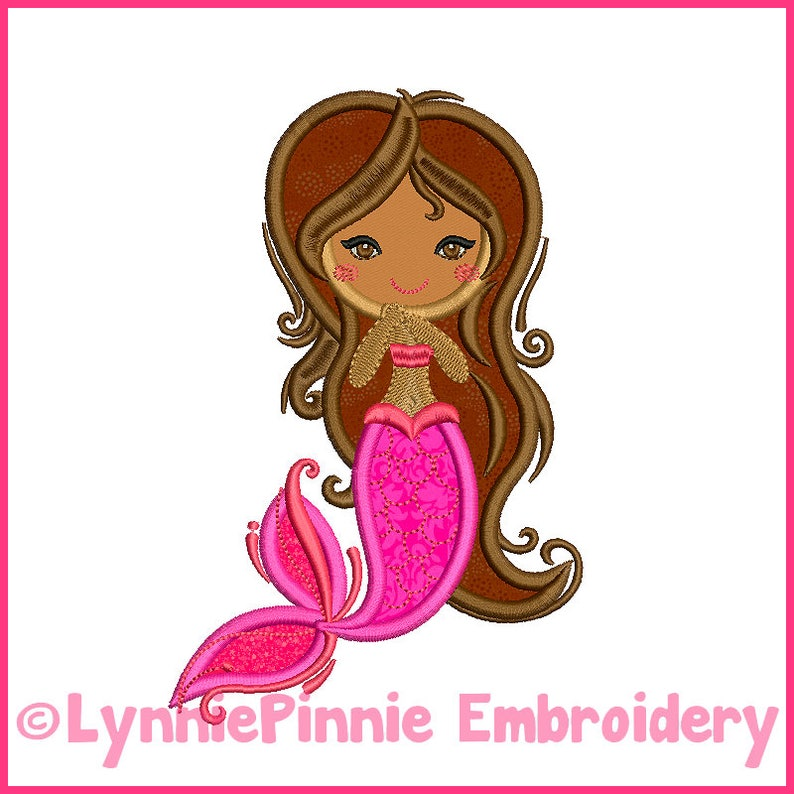 Fancy Applique Mermaid 4x4 5x7 6x10 Machine Embroidery Digital Design File  INSTANT Download Pattern