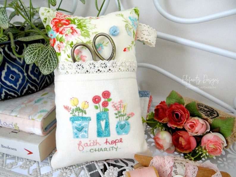 Faith Hope & Charity  hand embroidery and applique pattern image 0