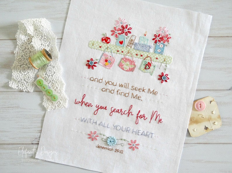 Seek and Find  Jeremiah 29:13  hand embroidery and applique image 0