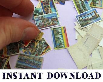 Vintage State Postcards: Dollhouse Digital Download DIY