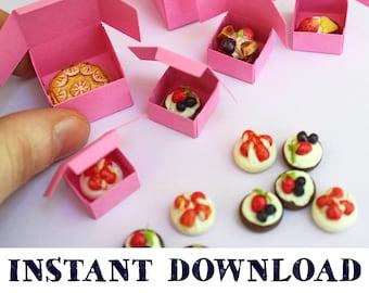 Miniature Pink Bakery Boxes: Dollhouse Digital Download DIY