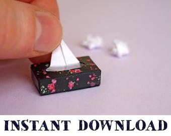 Miniature Rectangular Decorative Tissue Box #9 DOLLHOUSE 1:12 Grey