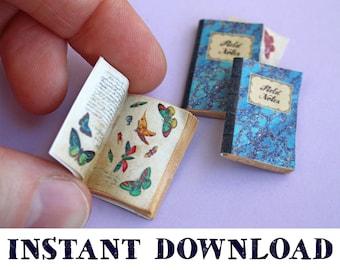 Miniature Butterfly Sketchbooks: Dollhouse Digital Download DIY