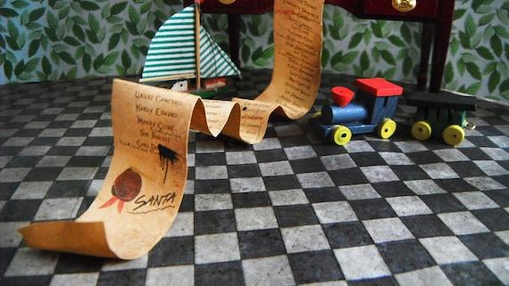 Dollhouse Miniature Santa Claus Figurine Reviewing His Naughty Nice List 3094