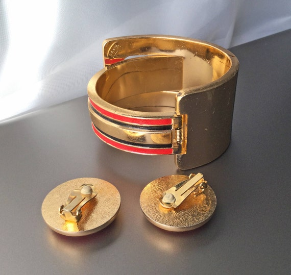 RARE Lanvin Paris Vintage Clamper Cuff Bracelet a… - image 4