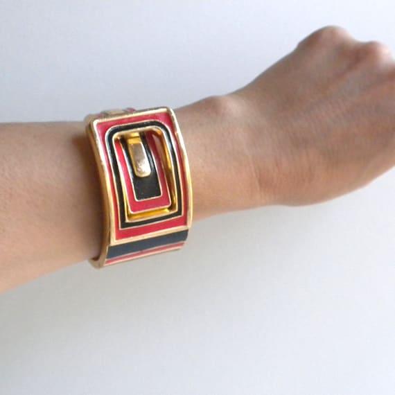 RARE Lanvin Paris Vintage Clamper Cuff Bracelet a… - image 10
