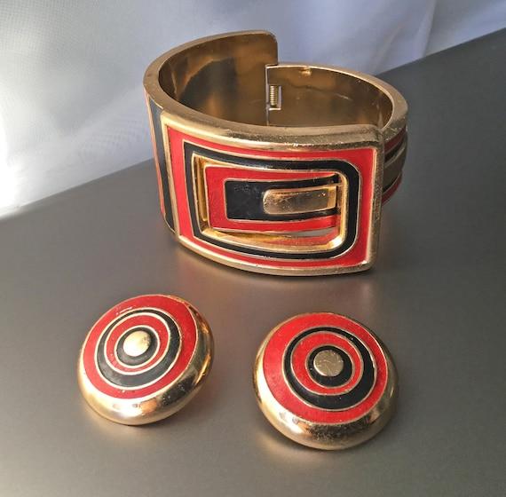 RARE Lanvin Paris Vintage Clamper Cuff Bracelet a… - image 1