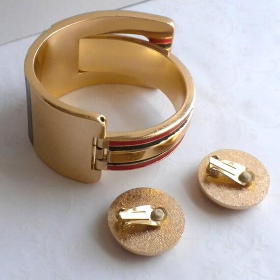 RARE Lanvin Paris Vintage Clamper Cuff Bracelet a… - image 9