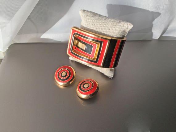 RARE Lanvin Paris Vintage Clamper Cuff Bracelet a… - image 2