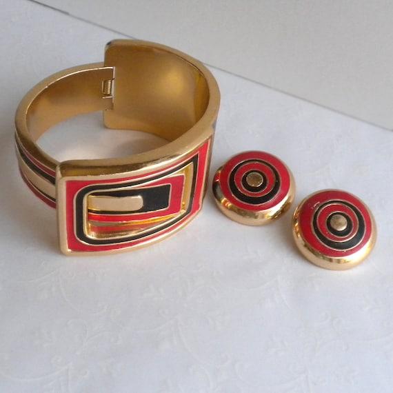 RARE Lanvin Paris Vintage Clamper Cuff Bracelet a… - image 6