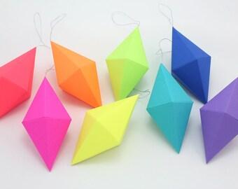 geometric paper gem ornaments paper diamonds neon bright etsy