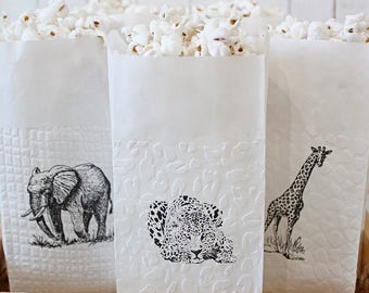 Safari Animals Popcorn Favor Bags - Sold in sets of 6 bags per design - Birthday Favors, thank you bags, welcome bags