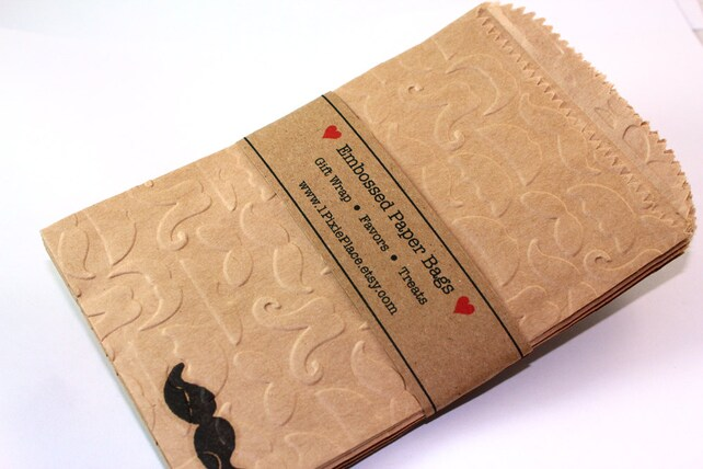 Mustache Embossed Kraft Paper Bags - Candy, Bags, Favor bags, gift wrap, treat bags - SMALL