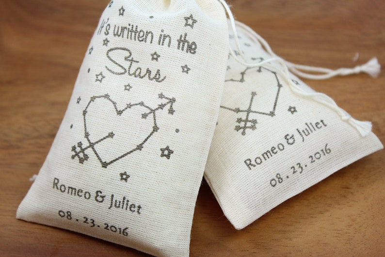 Set of 100 personalized wedding favors,bachelor Wedding Favor Bags 3.25 x 5 bachelorette party favors It/'s written in the stars