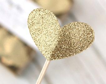 Light Gold Glitter Heart Cupcake Toppers - Set of 12