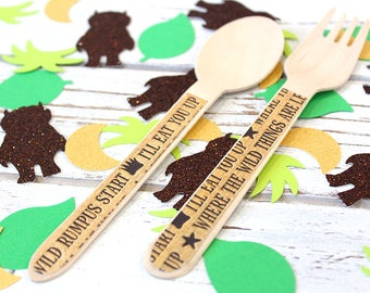 Wild Thing party supplies, Where the Wild Things are Wooden Utensils - Set of 24 (12 Forks and 12 Spoons)
