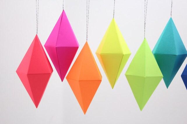 Paper Gem Templates Ornaments Neon Bright Rainbow Set of 8 | Etsy