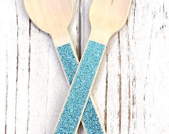 Glitter Wooden Utensils - Set of 24 (12 Forks and 12 Spoons)