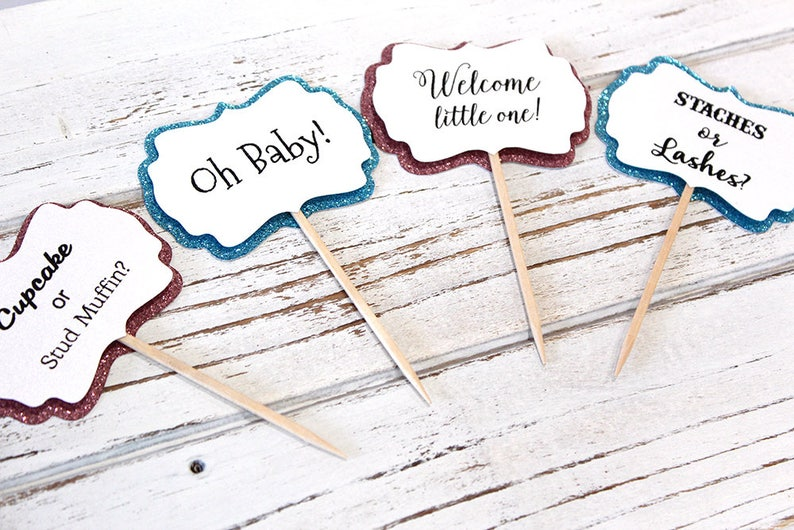 Gender Reveal Baby Shower Cupcake Toppers Baby Shower Etsy