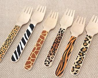 Safari Animal Print Wooden Utensils - Set of 24 (12 Forks and 12 Spoons) - jungle safari, party animals, safari adventure