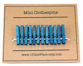 Mini Clothespins - Set of 12 - Turquoise