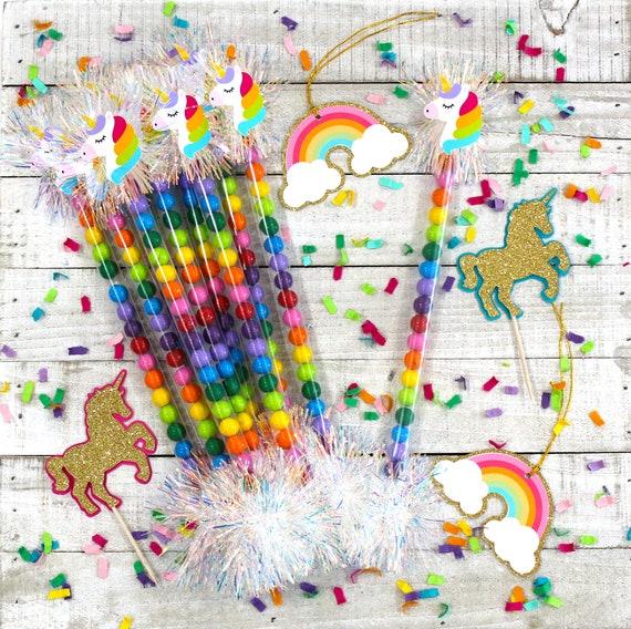 Set of 10 Unicorns and Rainbows Birthday Favors Party Favors Rainbow Unicorn Candy Wand Favors