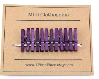 Mini Clothespins - Set of 12 - Plum