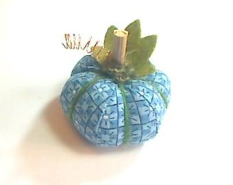 Miniature Blue Fabric Pumpkin | Home Decor | Folk Art | Fall Decor | Halloween Decor | Handmade Gift Idea | Mini Pumpkin | Thanksgiving | #7