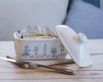 Robot Fine Bone China Butter Dish