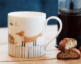 Woodland Animals Large Mug - perfect for tea, made from dishwasher safe fine bone china, hand decorated