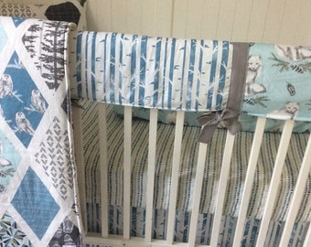 Baby Bedding Crib Sets Adventure Awaits Mountains Trees