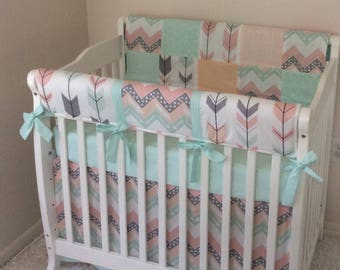 Mini Crib Bedding Sets For Girl.Mini Crib Bedding Pink And Mint Floral Ruffled Baby Girl Etsy