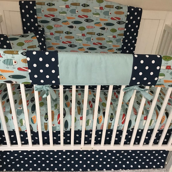 Baby Boy Crib Bedding Set Fishing Lures Aqua Blue Navy