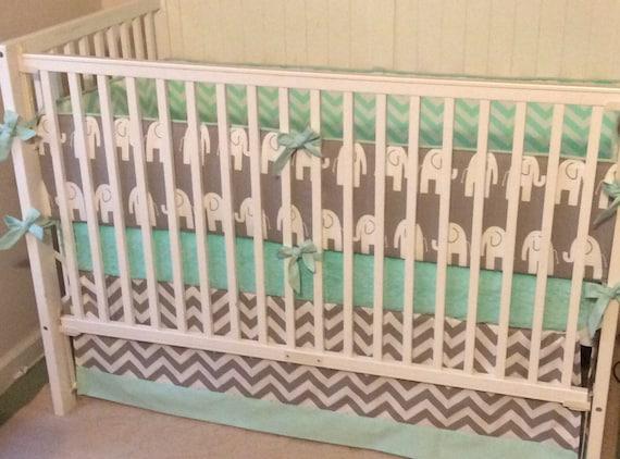 Crib Bedding Set Gray Mint Green, Gray And Mint Green Baby Bedding