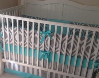 Modern Aqua And Gray Crib Bedding