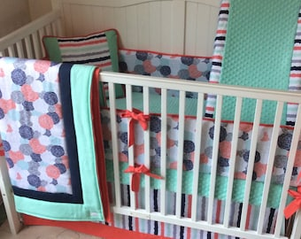 Complete Baby Girl Crib Bedding Set in Coral Mint and Navy Butterbeans Exclusive