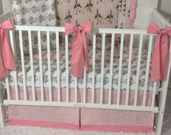 Baby Girl Crib Bedding Coral Pink Tan Boho Dreamcatcher Deer Feathers Made to Order