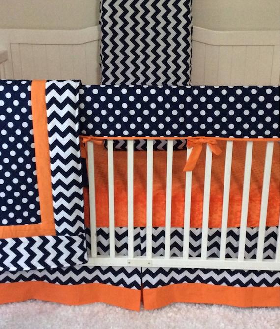 Baby Boy Crib Sets Baby Bedding Navy Blue Orange White Modern Baby Modern  Geometric Nursery Made to Order