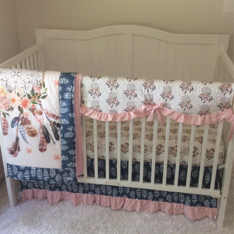 a541afb2c Baby Girl Crib Set Blush Pink Navy Denim Dream Catcher Nursery