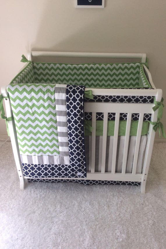 Baby Boy Navy And Green Mini Crib Bedding Made To Order Etsy