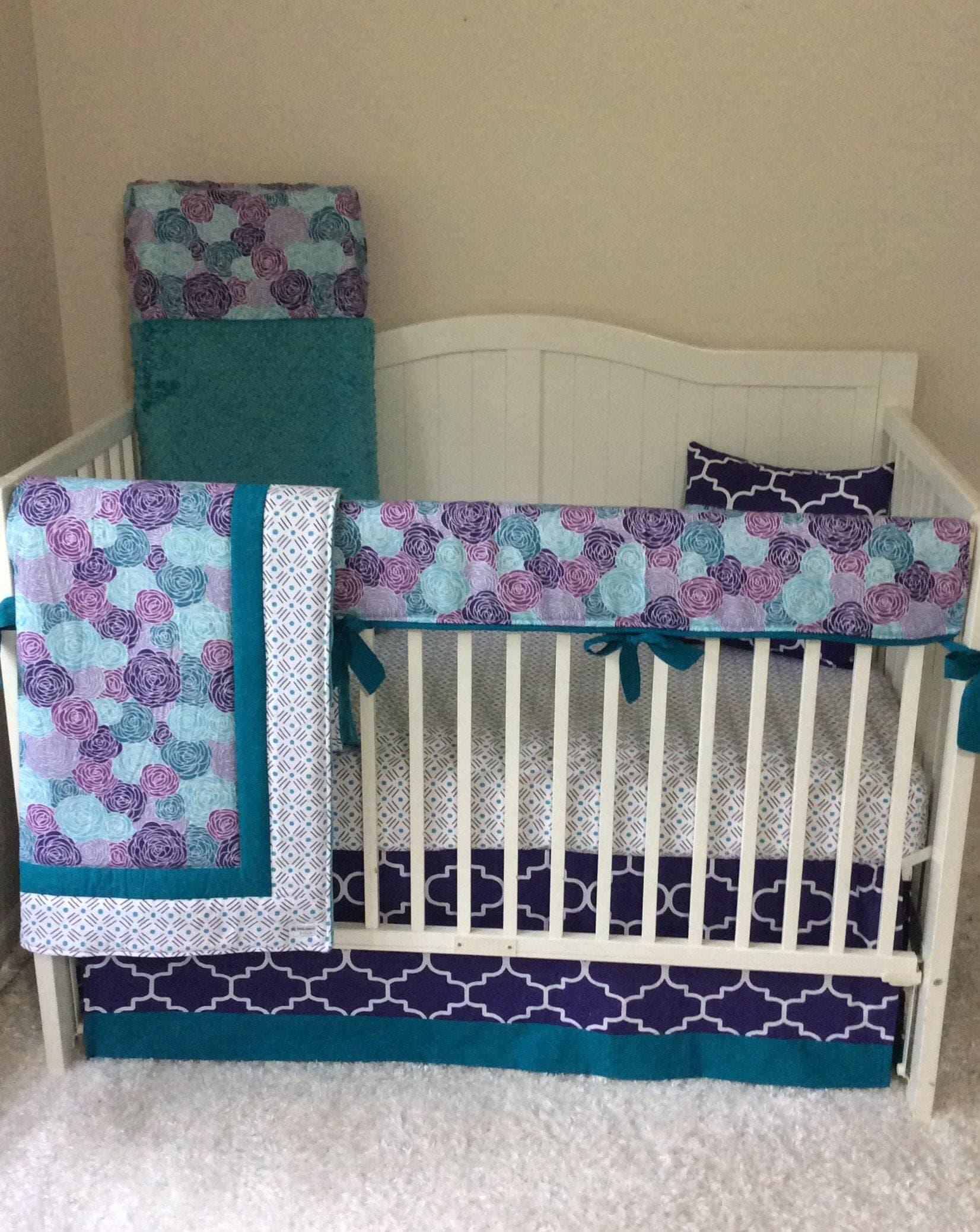 Baby Girl Crib Bedding Set Purple Teal Modern Floral