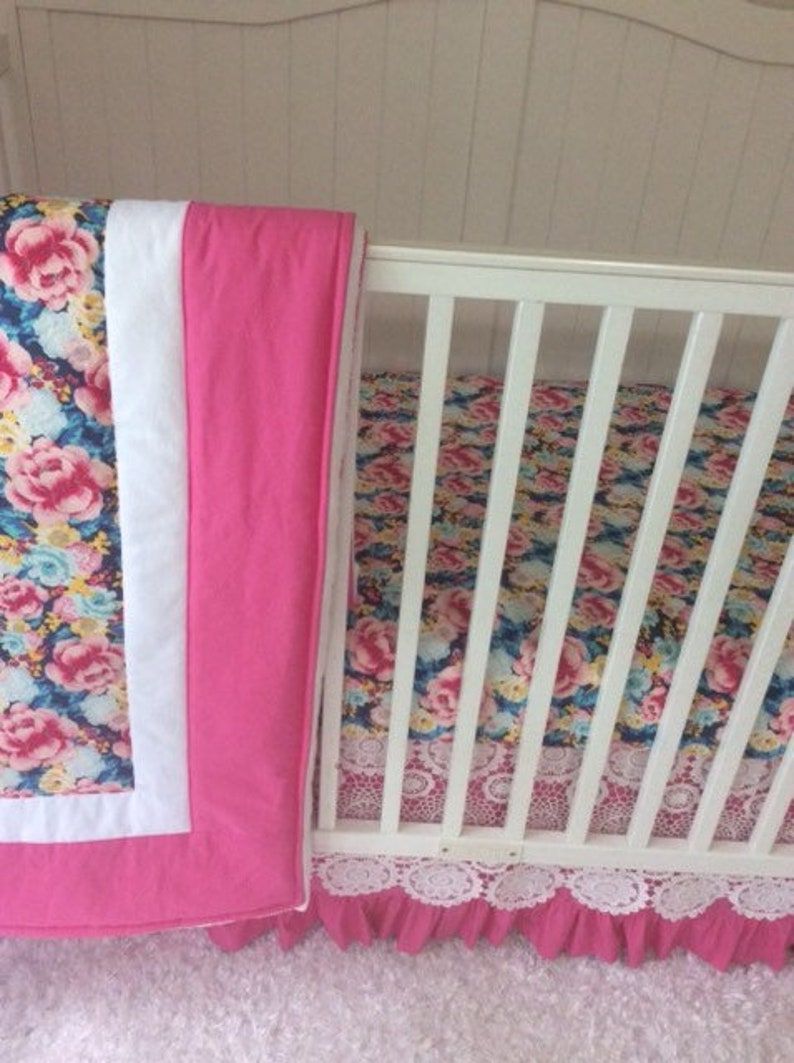 7ab686f40bcbe Baby Girl Crib Bedding Set Pink White Aqua Blue and Yellow Ruffled with  Lace Ships Fast