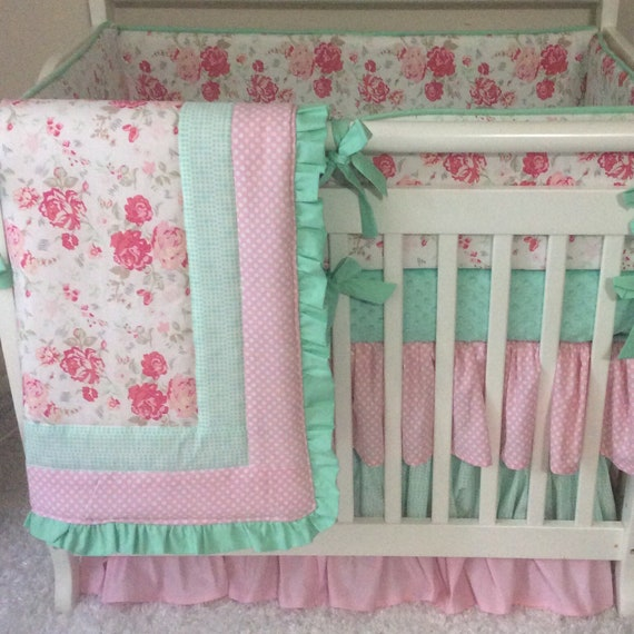 mini crib bedding pink and mint floral ruffled baby girl etsy. Black Bedroom Furniture Sets. Home Design Ideas